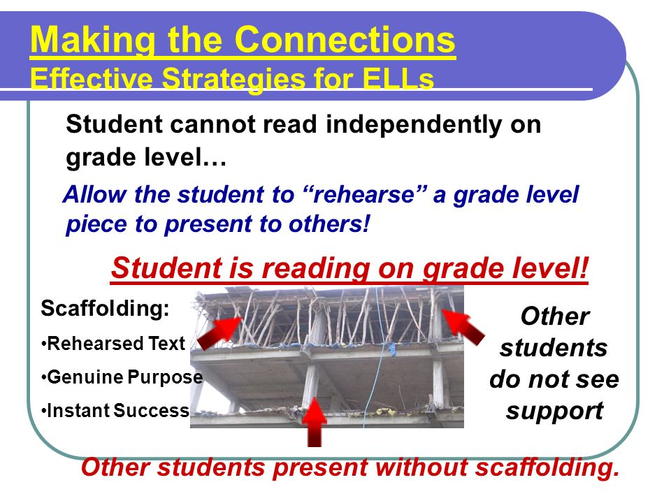 Making the Connections Effective Strategies for ELLs Student cannot read independently on grade level… Allow the student to rehearse a grade level piece to present to others.