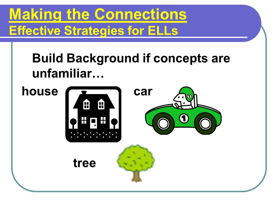 Making the Connections Effective Strategies for ELLs Build Background if concepts are unfamiliar… housecar tree