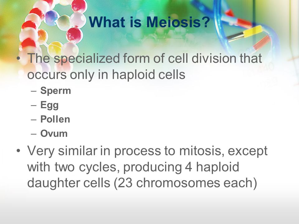What is Meiosis? The specialized form of cell division that occurs only in haploid cells –Sperm –Egg –Pollen –Ovum Very similar in process to mitosis,