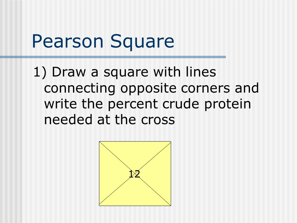 Pearson Square 1) Draw a square with lines connecting opposite corners and write the percent crude protein needed at the cross 12