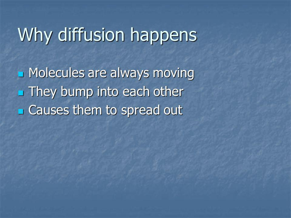 Why diffusion happens Molecules are always moving Molecules are always moving They bump into each other They bump into each other Causes them to sprea