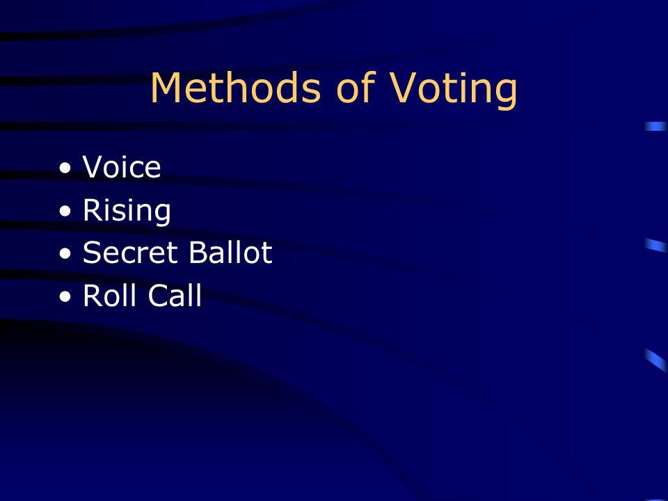 Methods of Voting Voice Rising Secret Ballot Roll Call