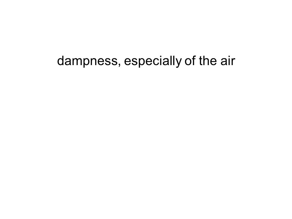 dampness, especially of the air