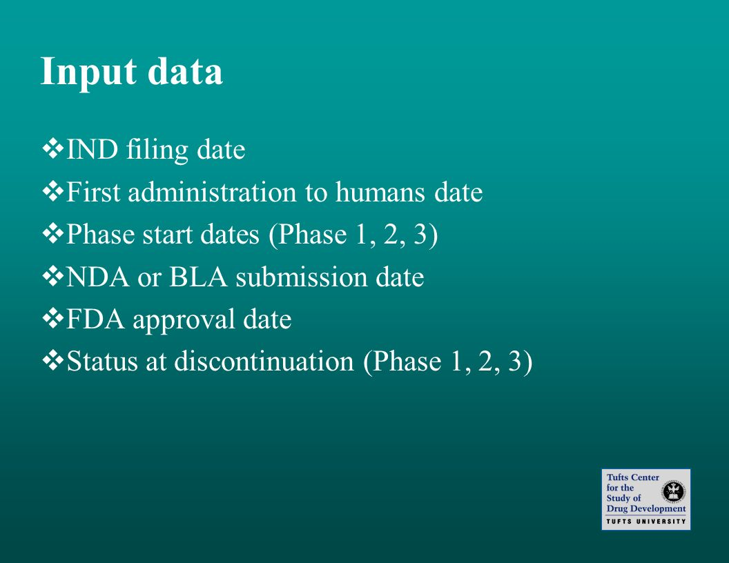Input data IND filing date First administration to humans date Phase start dates (Phase 1, 2, 3) NDA or BLA submission date FDA approval date Status a