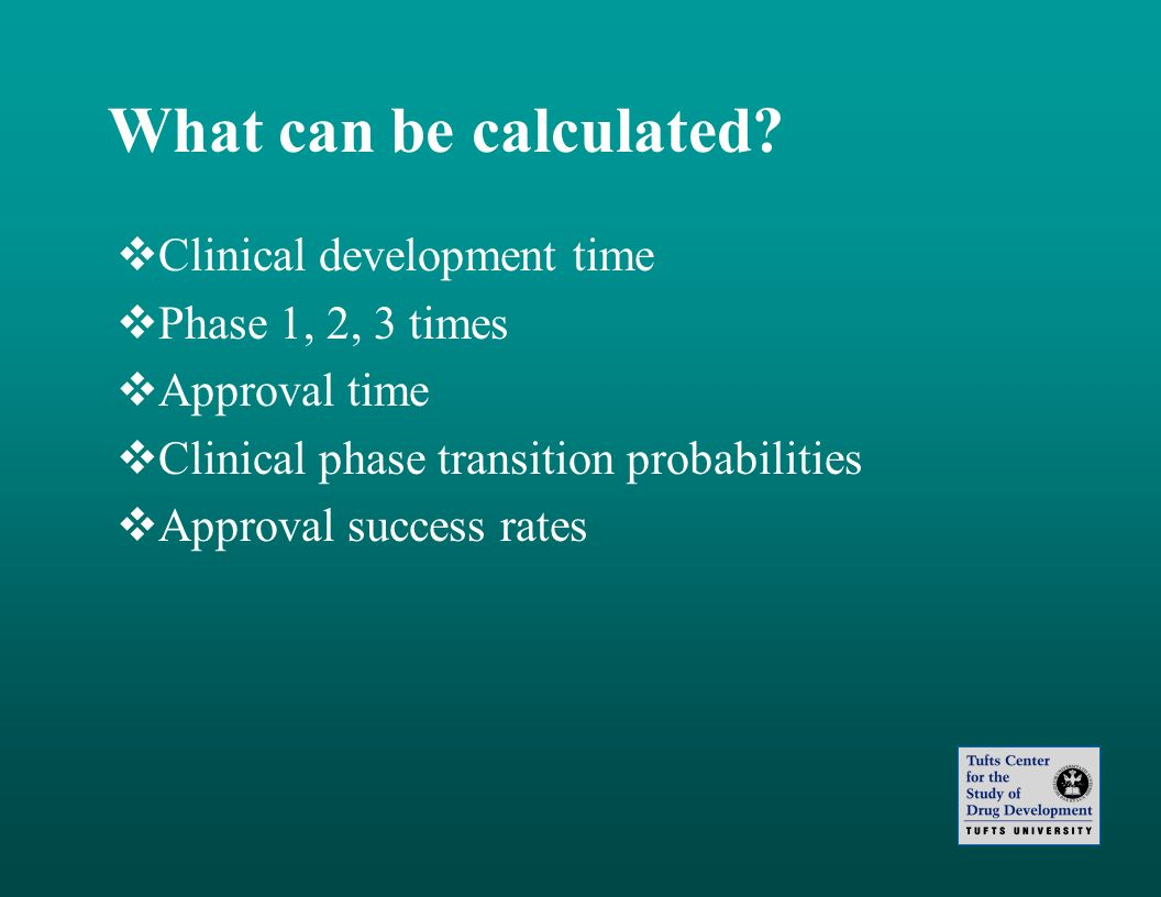 What can be calculated? Clinical development time Phase 1, 2, 3 times Approval time Clinical phase transition probabilities Approval success rates