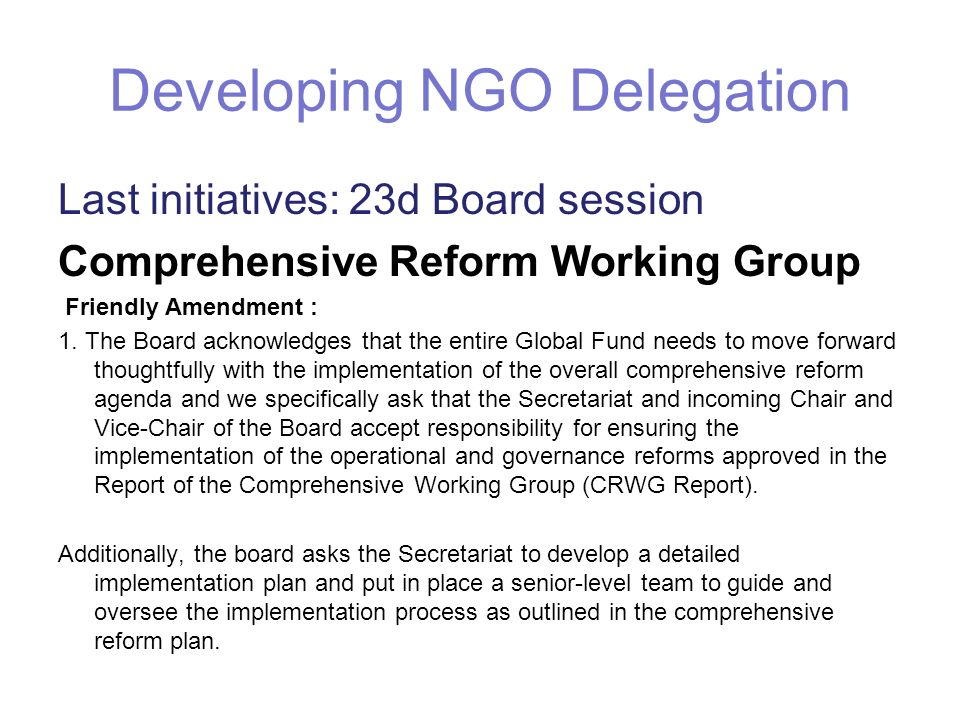 Developing NGO Delegation Last initiatives: 23d Board session Comprehensive Reform Working Group Friendly Amendment : 1. The Board acknowledges that t