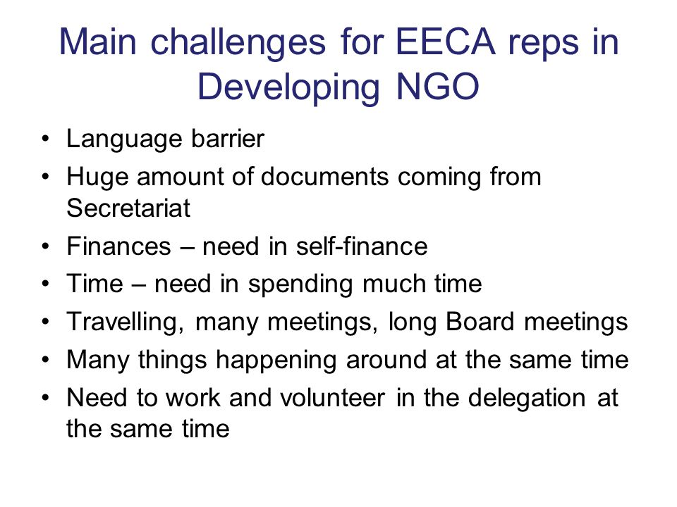 Main challenges for EECA reps in Developing NGO Language barrier Huge amount of documents coming from Secretariat Finances – need in self-finance Time
