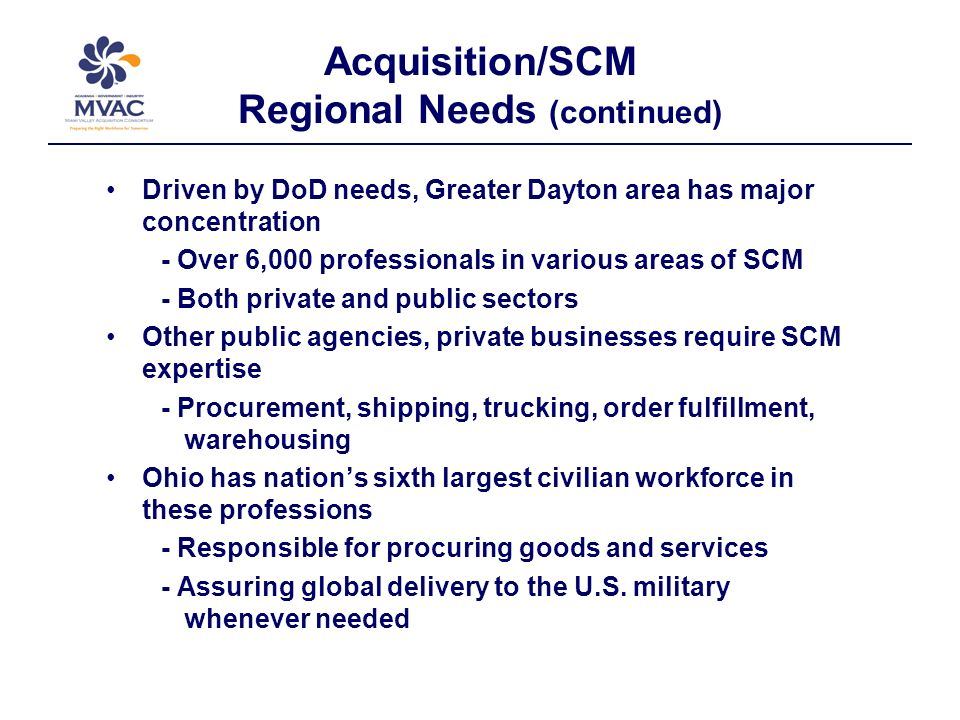Acquisition/SCM Regional Needs (continued) Driven by DoD needs, Greater Dayton area has major concentration - Over 6,000 professionals in various areas of SCM - Both private and public sectors Other public agencies, private businesses require SCM expertise - Procurement, shipping, trucking, order fulfillment, warehousing Ohio has nations sixth largest civilian workforce in these professions - Responsible for procuring goods and services - Assuring global delivery to the U.S.