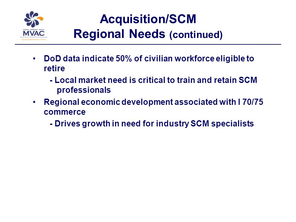 Acquisition/SCM Regional Needs (continued) DoD data indicate 50% of civilian workforce eligible to retire - Local market need is critical to train and retain SCM professionals Regional economic development associated with I 70/75 commerce - Drives growth in need for industry SCM specialists
