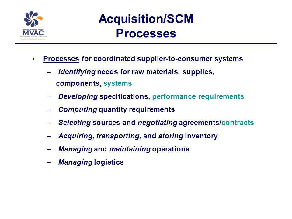 Acquisition/SCM Processes Processes for coordinated supplier-to-consumer systems – Identifying needs for raw materials, supplies, components, systems – Developing specifications, performance requirements – Computing quantity requirements – Selecting sources and negotiating agreements/contracts – Acquiring, transporting, and storing inventory – Managing and maintaining operations – Managing logistics