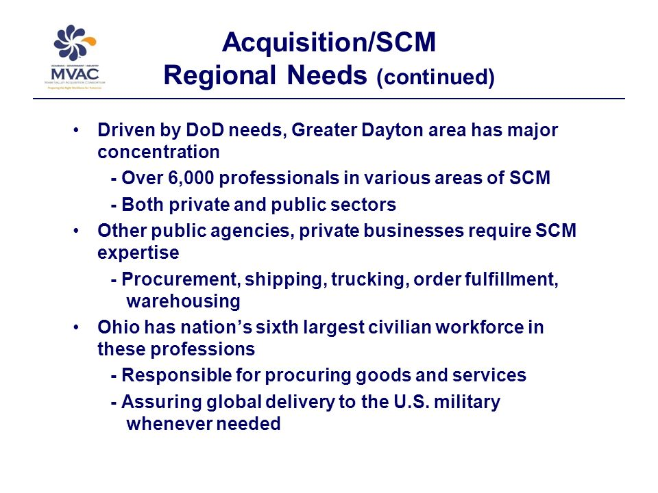 Related Professional Organizations Chambers of Commerce Association for Operations Management (APICS) Dayton Business Partnerships Institute for Supply Management (ISM) International Society of Logistics Engineers (SOLE) National Association of Purchasing Management (NAPM) Supply-Chain Council (SCC) Many other key disciplines