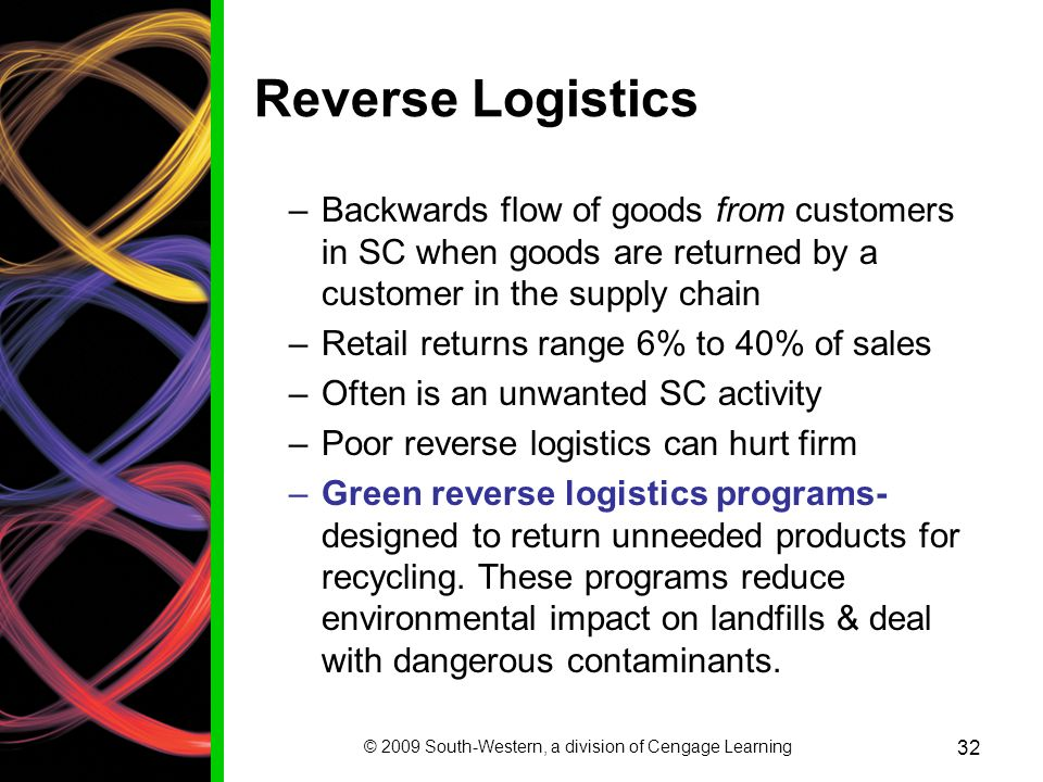 © 2009 South-Western, a division of Cengage Learning 32 Reverse Logistics –Backwards flow of goods from customers in SC when goods are returned by a customer in the supply chain –Retail returns range 6% to 40% of sales –Often is an unwanted SC activity –Poor reverse logistics can hurt firm –Green reverse logistics programs- designed to return unneeded products for recycling.
