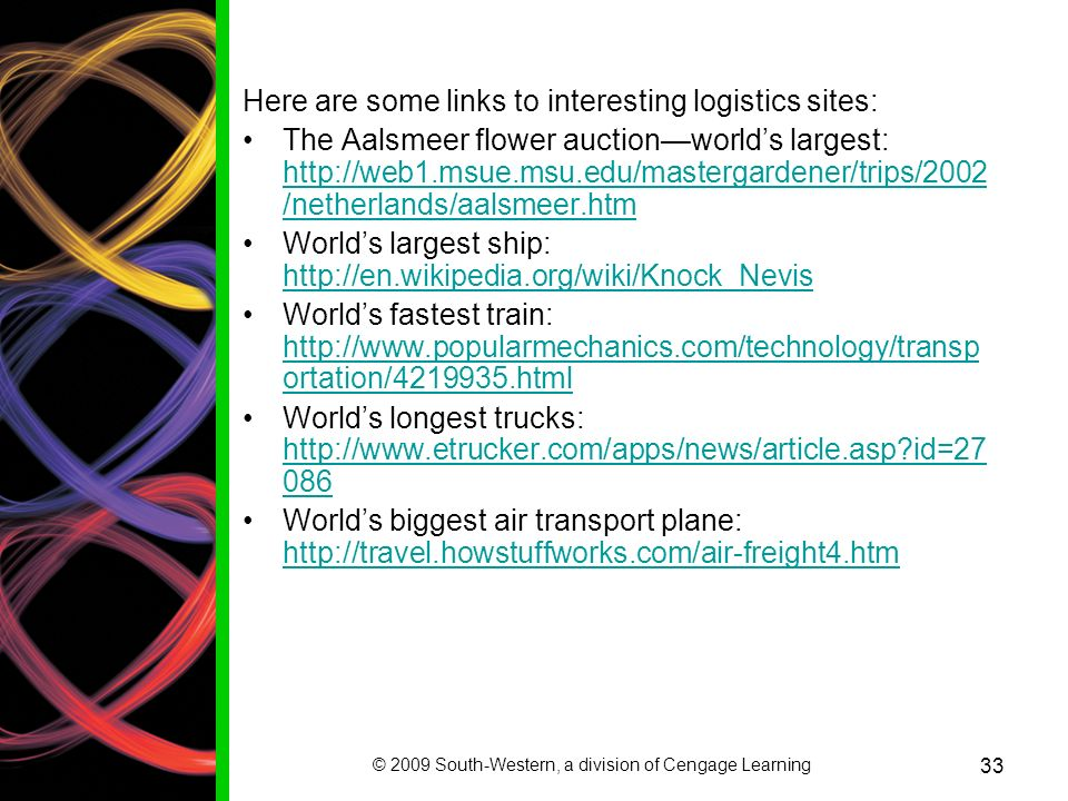© 2009 South-Western, a division of Cengage Learning 33 Here are some links to interesting logistics sites: The Aalsmeer flower auctionworlds largest: http://web1.msue.msu.edu/mastergardener/trips/2002 /netherlands/aalsmeer.htm http://web1.msue.msu.edu/mastergardener/trips/2002 /netherlands/aalsmeer.htm Worlds largest ship: http://en.wikipedia.org/wiki/Knock_Nevis http://en.wikipedia.org/wiki/Knock_Nevis Worlds fastest train: http://www.popularmechanics.com/technology/transp ortation/4219935.html http://www.popularmechanics.com/technology/transp ortation/4219935.html Worlds longest trucks: http://www.etrucker.com/apps/news/article.asp?id=27 086 http://www.etrucker.com/apps/news/article.asp?id=27 086 Worlds biggest air transport plane: http://travel.howstuffworks.com/air-freight4.htm http://travel.howstuffworks.com/air-freight4.htm