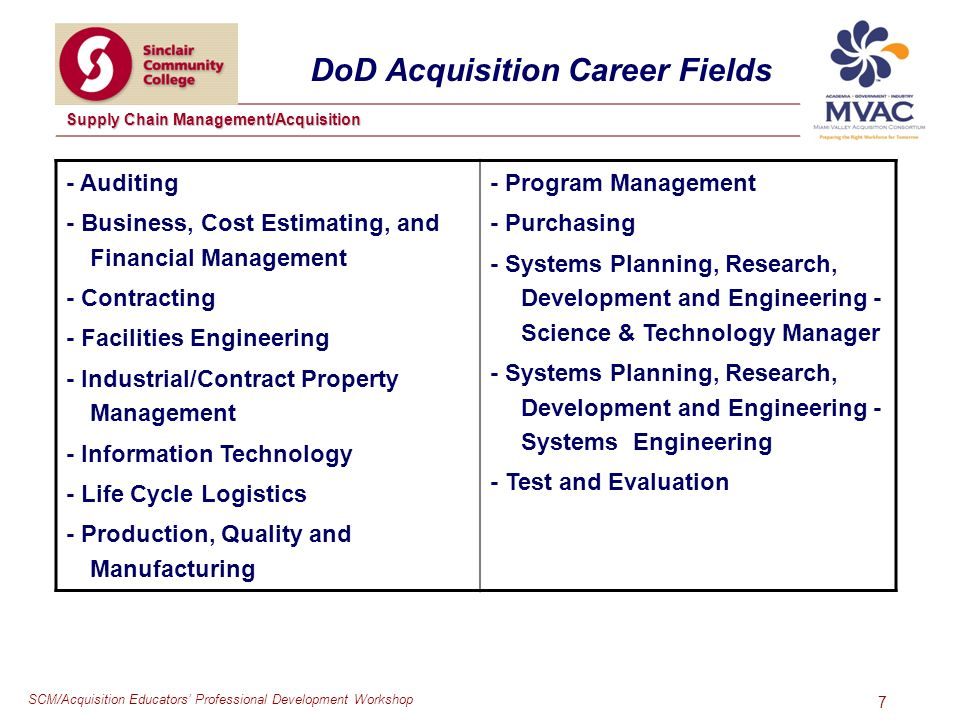 SCM/Acquisition Educators Professional Development Workshop Supply Chain Management/Acquisition 7 DoD Acquisition Career Fields - Auditing - Business, Cost Estimating, and Financial Management - Contracting - Facilities Engineering - Industrial/Contract Property Management - Information Technology - Life Cycle Logistics - Production, Quality and Manufacturing - Program Management - Purchasing - Systems Planning, Research, Development and Engineering - Science & Technology Manager - Systems Planning, Research, Development and Engineering - Systems Engineering - Test and Evaluation