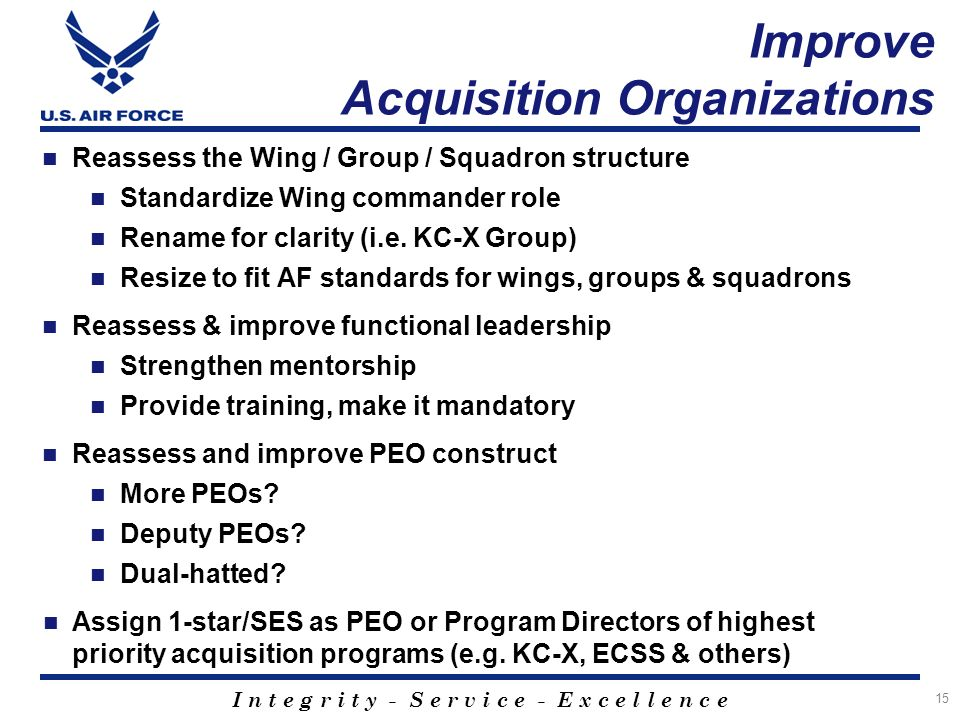 I n t e g r i t y - S e r v i c e - E x c e l l e n c e Improve Acquisition Organizations Reassess the Wing / Group / Squadron structure Standardize Wing commander role Rename for clarity (i.e.