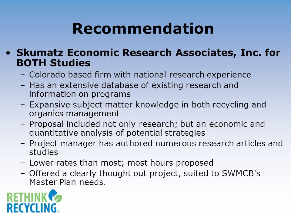 Recommendation Skumatz Economic Research Associates, Inc.