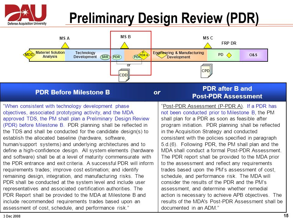 3 Dec 2008 15 PD MS C FRP DR CPD O&S MS A Materiel Solution Analysis MDD MS B Technology Development SRR Preliminary Design Review (PDR) PDR P- PDR A