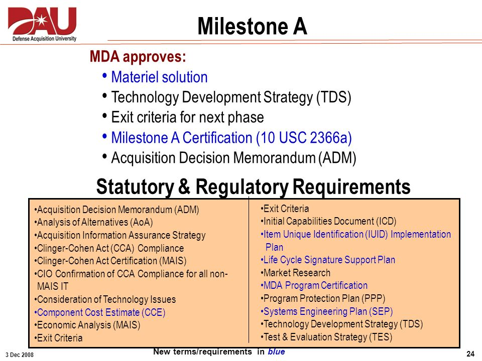 3 Dec 2008 24 MDA approves: Materiel solution Technology Development Strategy (TDS) Exit criteria for next phase Milestone A Certification (10 USC 236