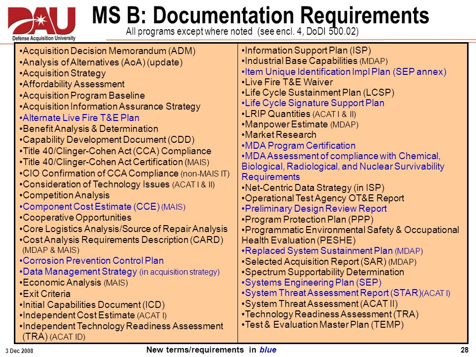 3 Dec 2008 28 MS B: Documentation Requirements 1: Part of Acquisition Strategy. 2: Program Initiation for Ships. 3: OSD LFT&E Oversight Programs Acqui