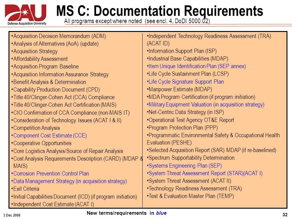 3 Dec 2008 32 MS C: Documentation Requirements Statutory & Regulatory Requirements Acquisition Decision Memorandum (ADM) Analysis of Alternatives (AoA