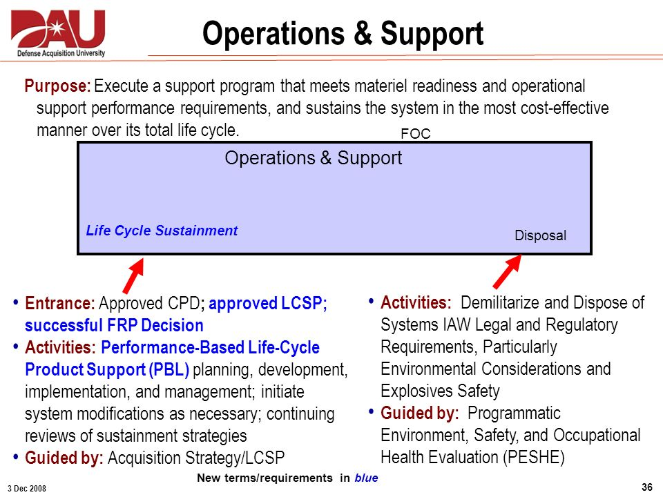 3 Dec 2008 36 Operations & Support FOC Purpose: Execute a support program that meets materiel readiness and operational support performance requiremen