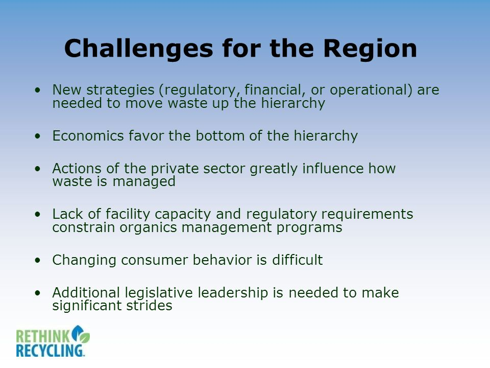 Challenges for the Region New strategies (regulatory, financial, or operational) are needed to move waste up the hierarchy Economics favor the bottom of the hierarchy Actions of the private sector greatly influence how waste is managed Lack of facility capacity and regulatory requirements constrain organics management programs Changing consumer behavior is difficult Additional legislative leadership is needed to make significant strides