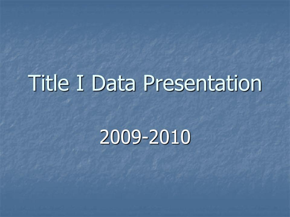 Title I Data Presentation 2009-2010