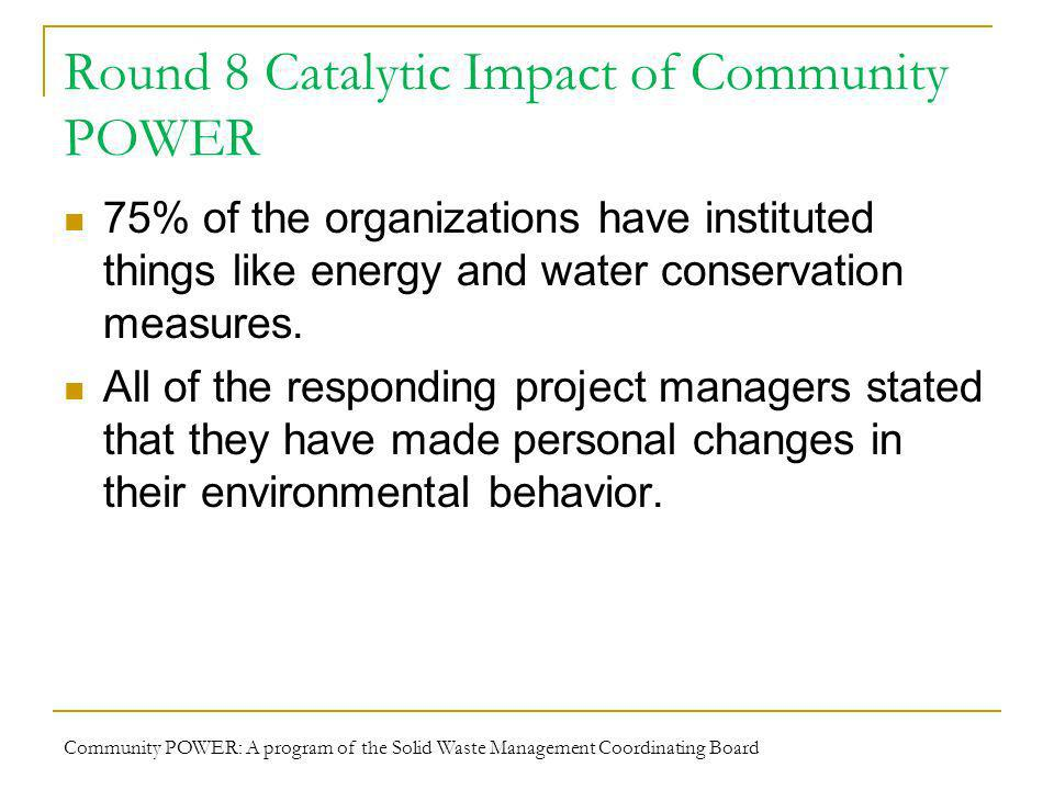 Round 8 Catalytic Impact of Community POWER 75% of the organizations have instituted things like energy and water conservation measures.