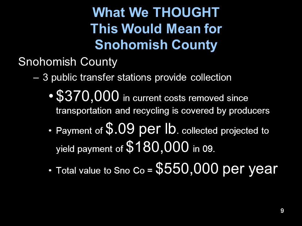 9 What We THOUGHT This Would Mean for Snohomish County Snohomish County –3 public transfer stations provide collection $370,000 in current costs removed since transportation and recycling is covered by producers Payment of $.09 per lb.