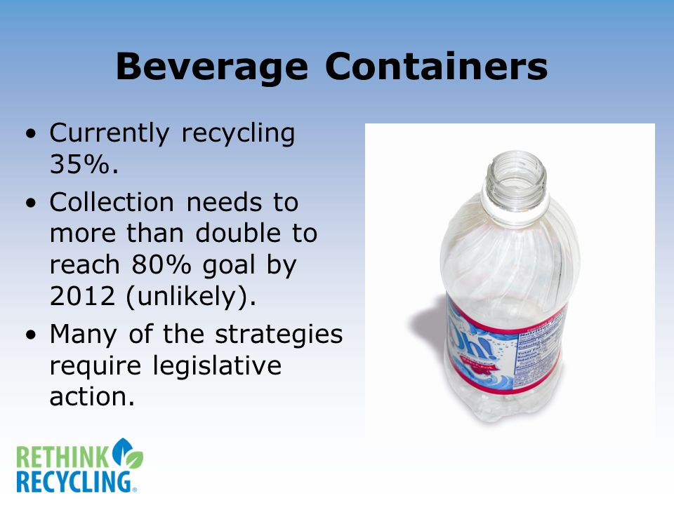 Beverage Containers Currently recycling 35%.