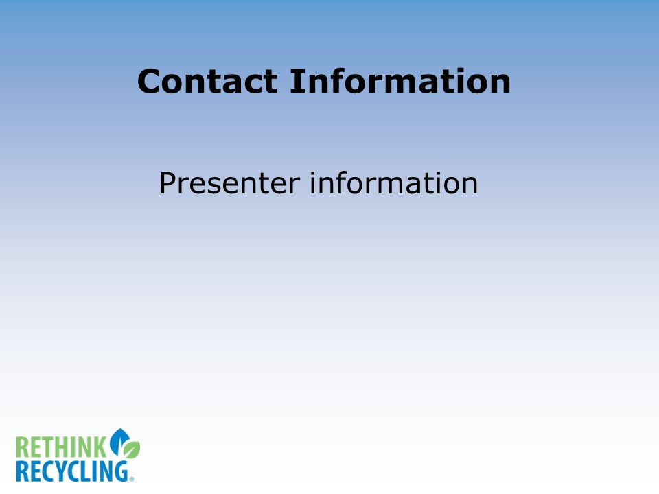 Contact Information Presenter information