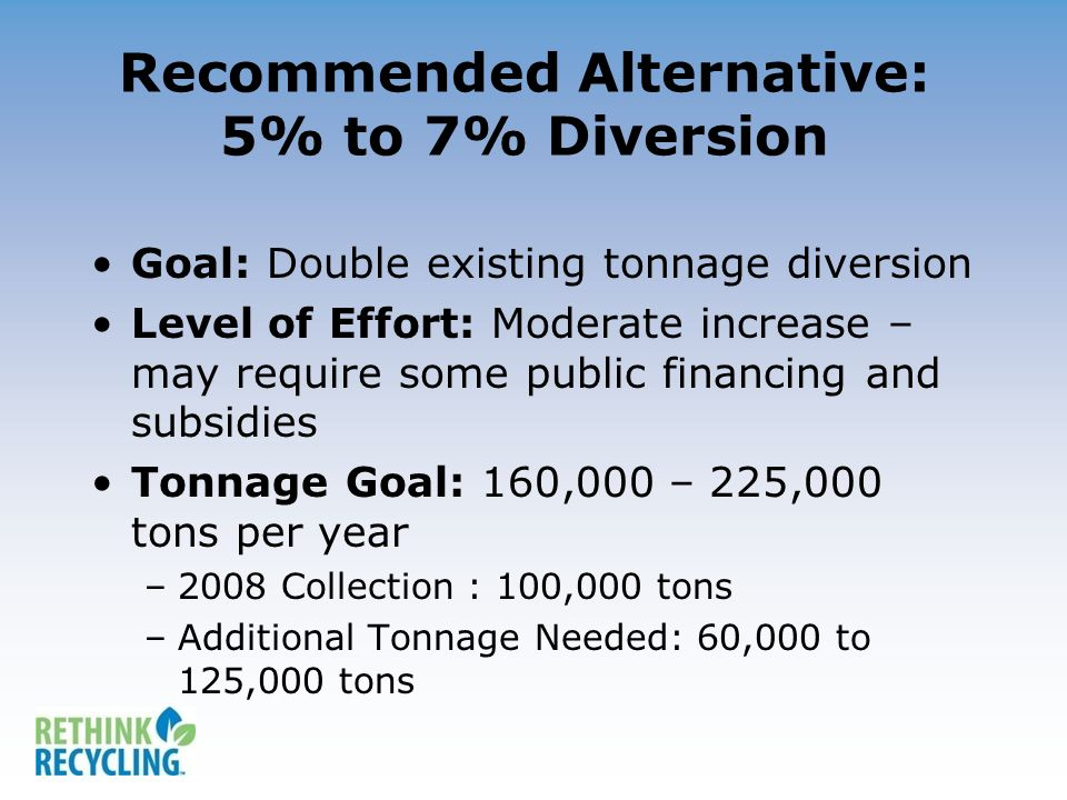Recommended Alternative: 5% to 7% Diversion Goal: Double existing tonnage diversion Level of Effort: Moderate increase – may require some public financing and subsidies Tonnage Goal: 160,000 – 225,000 tons per year –2008 Collection : 100,000 tons –Additional Tonnage Needed: 60,000 to 125,000 tons