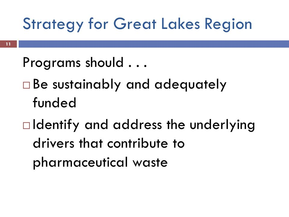 Strategy for Great Lakes Region 11 Programs should... Be sustainably and adequately funded Identify and address the underlying drivers that contribute