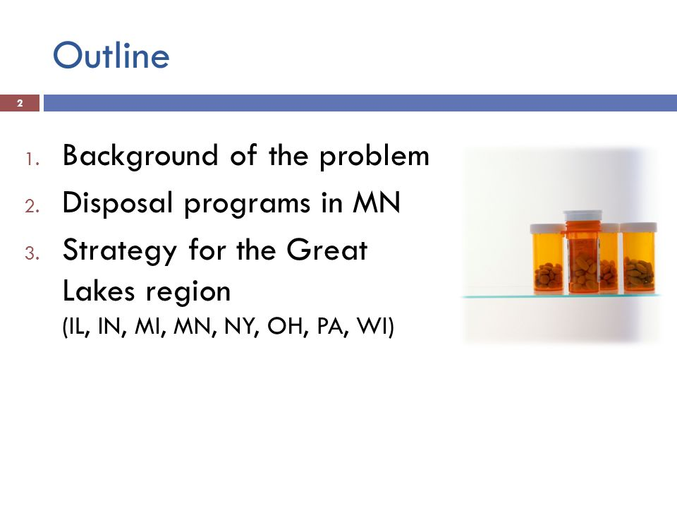 Outline 1. Background of the problem 2. Disposal programs in MN 3.