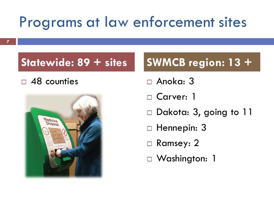 Programs at law enforcement sites 48 counties Anoka: 3 Carver: 1 Dakota: 3, going to 11 Hennepin: 3 Ramsey: 2 Washington: 1 7 Statewide: 89 + sitesSWM