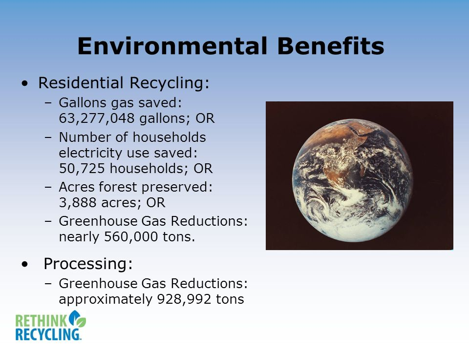 Environmental Benefits Residential Recycling: –Gallons gas saved: 63,277,048 gallons; OR –Number of households electricity use saved: 50,725 households; OR –Acres forest preserved: 3,888 acres; OR –Greenhouse Gas Reductions: nearly 560,000 tons.