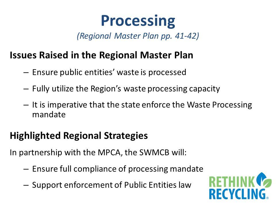 Processing (Regional Master Plan pp.