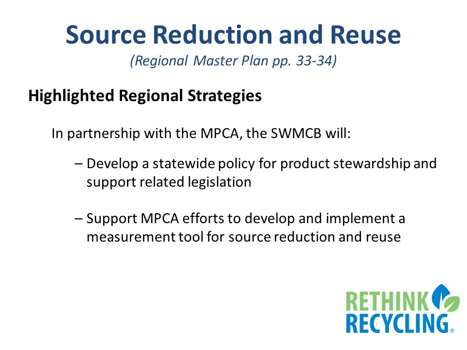 Source Reduction and Reuse (Regional Master Plan pp.