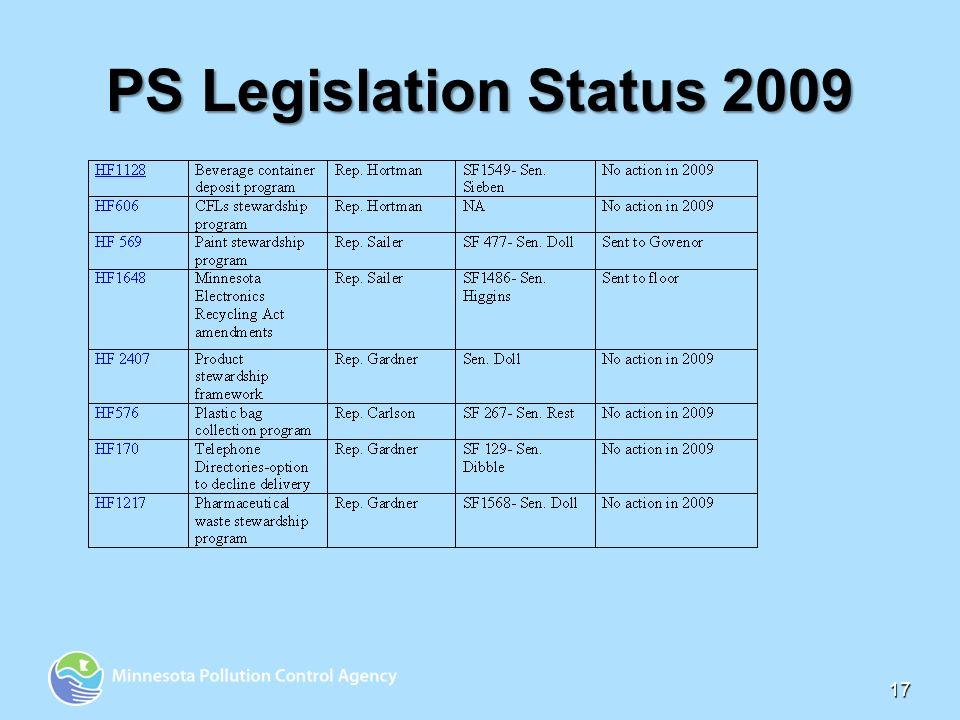 17 PS Legislation Status 2009