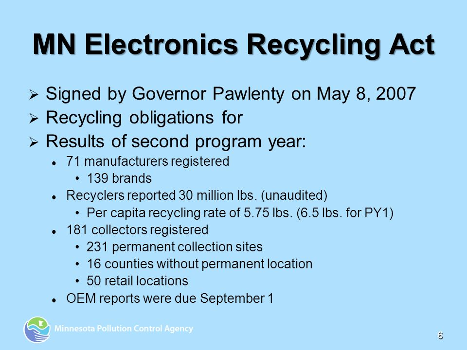 6 MN Electronics Recycling Act Signed by Governor Pawlenty on May 8, 2007 Recycling obligations for Results of second program year: 71 manufacturers registered 139 brands Recyclers reported 30 million lbs.