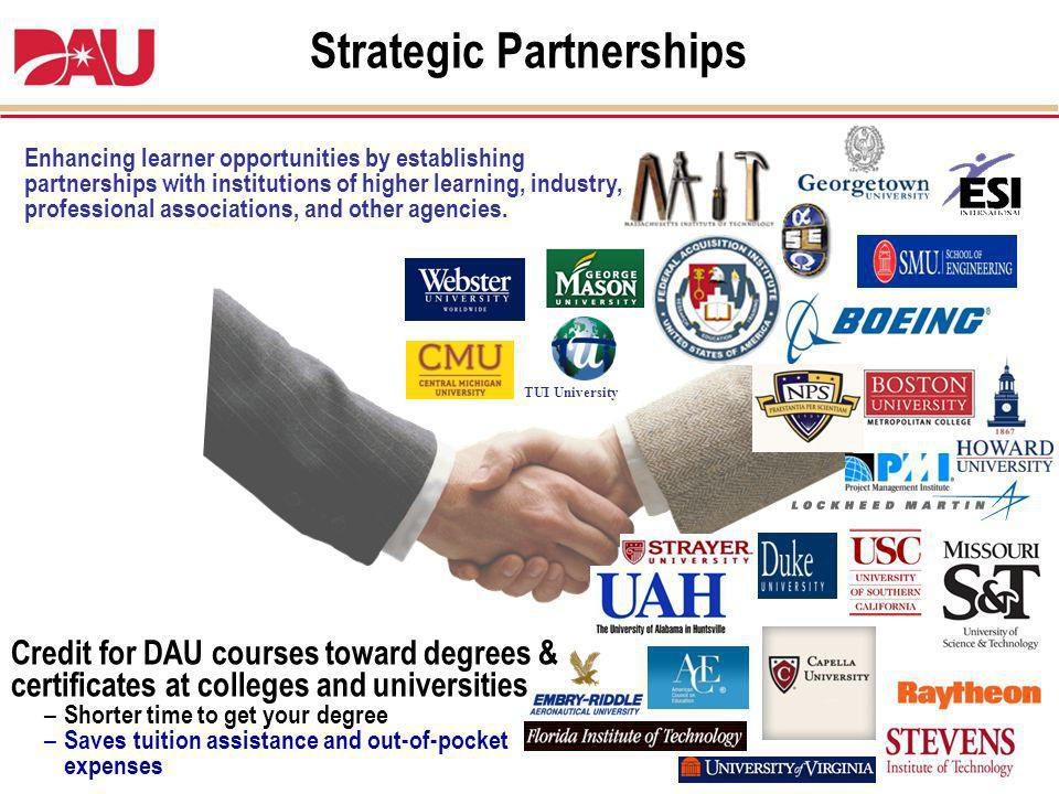 Enhancing learner opportunities by establishing partnerships with institutions of higher learning, industry, professional associations, and other agen