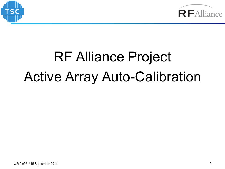 RF Alliance Project Active Array Auto-Calibration 5W265-092 / 15 September 2011