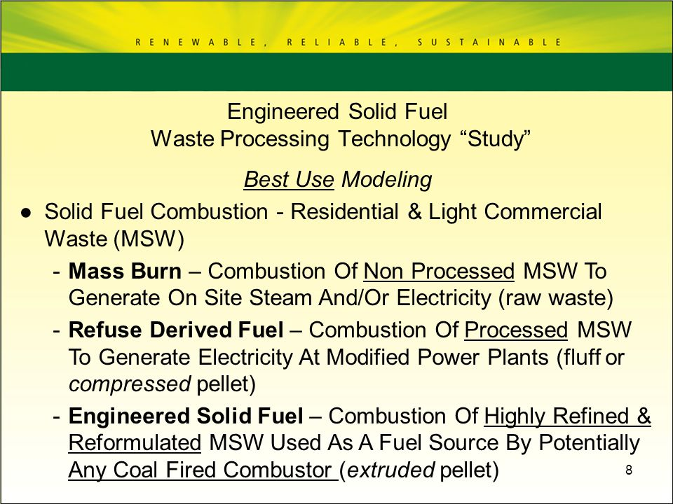 8 Best Use Modeling Solid Fuel Combustion - Residential & Light Commercial Waste (MSW) -Mass Burn – Combustion Of Non Processed MSW To Generate On Sit