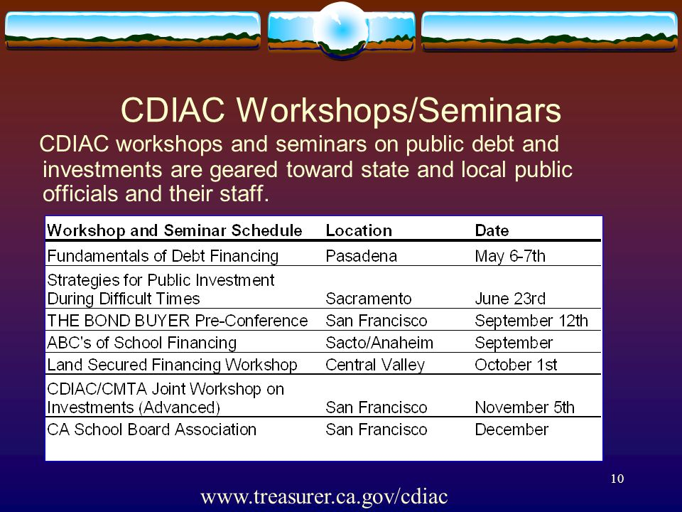 8 CDIAC Presents Seminars Fundamentals of Debt Financing Mechanics of a Bond Sale Understanding Municipal Securities Regulations Investing Public Fund