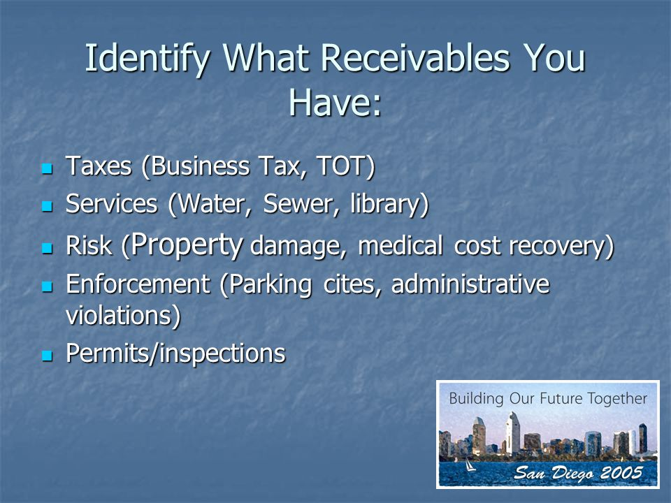 Identify What Receivables You Have: Taxes (Business Tax, TOT) Taxes (Business Tax, TOT) Services (Water, Sewer, library) Services (Water, Sewer, library) Risk ( Property damage, medical cost recovery) Risk ( Property damage, medical cost recovery) Enforcement (Parking cites, administrative violations) Enforcement (Parking cites, administrative violations) Permits/inspections Permits/inspections