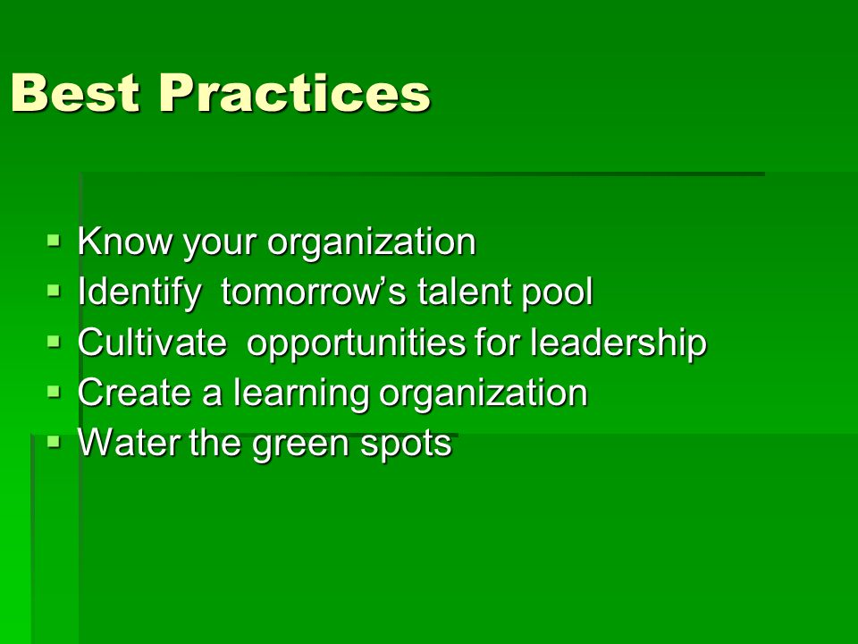 Best Practices Know your organization Know your organization Identify tomorrows talent pool Identify tomorrows talent pool Cultivate opportunities for leadership Cultivate opportunities for leadership Create a learning organization Create a learning organization Water the green spots Water the green spots