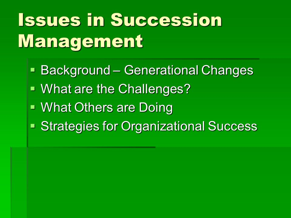 Issues in Succession Management Background – Generational Changes Background – Generational Changes What are the Challenges.