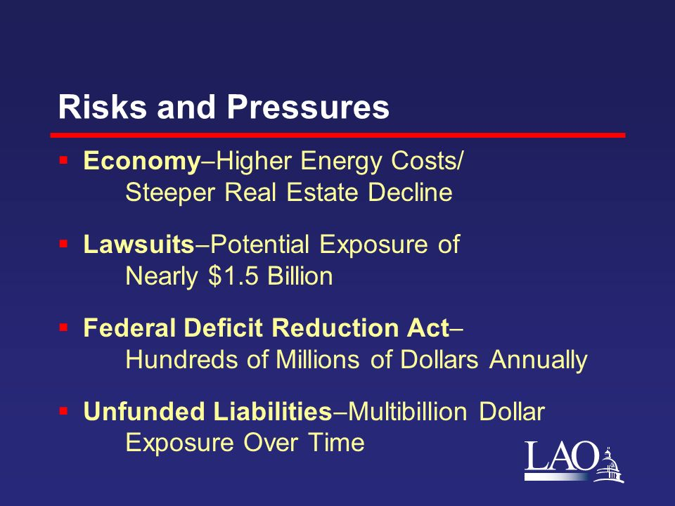 LAO Risks and Pressures Economy Higher Energy Costs/ Steeper Real Estate Decline Lawsuits Potential Exposure of Nearly $1.5 Billion Federal Deficit Reduction Act Hundreds of Millions of Dollars Annually Unfunded Liabilities Multibillion Dollar Exposure Over Time