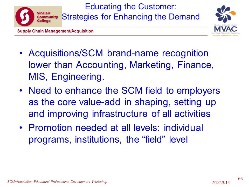 SCM/Acquisition Educators Professional Development Workshop Supply Chain Management/Acquisition Acquisitions/SCM brand-name recognition lower than Accounting, Marketing, Finance, MIS, Engineering.