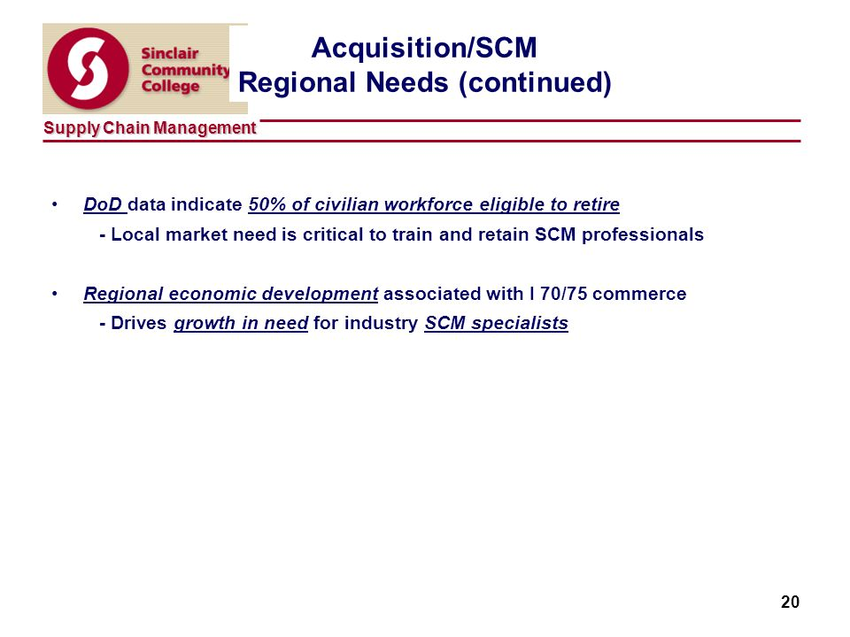 Supply Chain Management 20 Acquisition/SCM Regional Needs (continued) DoD data indicate 50% of civilian workforce eligible to retire - Local market need is critical to train and retain SCM professionals Regional economic development associated with I 70/75 commerce - Drives growth in need for industry SCM specialists